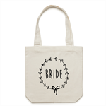 BRIDE Wreath Tote Bag in Cream