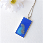 BLUE LAGOON - royal blue, sky blue and silver original resin art necklace