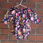 Navy floral baby girl play suit bubble romper with snaps, short or long sleeves