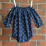 Navy and gold romper for baby and toddler girls, NB, 3 6 12 18 mths, 2T