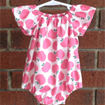 Cute apple playsuit for baby and toddler girls, 3 colour choices