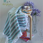 Grey, Mint & White Newborn Hand Crocheted Baby Blanket