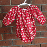 Maroon floral romper for baby and toddler girls, NB, 3 6 12 18 mths, 2T