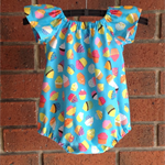Cupcake romper for baby girl, short or long sleeves