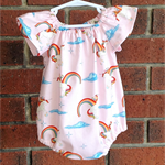 Pink unicorn romper for baby girl, short or long sleeves