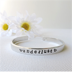 RESINATING WORDS - ladies cuff bangle hand stamped - wanderlust