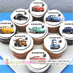 """Cars Edible Icing Cupcake Toppers - 2"""" - PRE-CUT - Sheet of 15"""