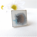 ICE ICE BABY - resin art ring in a square silver bezel ring setting