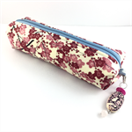 Kimono fabric makeup bag /pouch with beaded tassel- pink and cherry red floral
