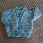 3-9mths - Hand knitted cardigan in Cram & multi colours:boy, washable, OOAK