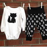Two piece unisex fox outfit black and white, cotton spandex jersey pants