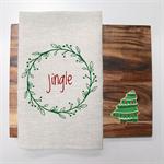 JINGLE Christmas Linen Tea Towel in Oatmeal