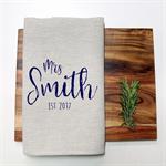 Personalised Bride Name Linen Tea Towel in Oatmeal
