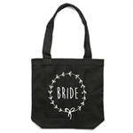BRIDE Wreath Tote Bag in Black