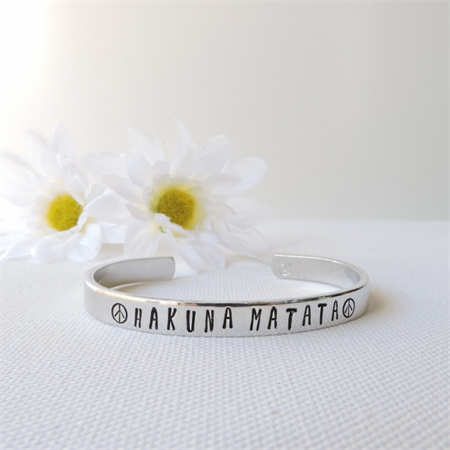 RESINATING WORDS - cuff bangle hand stamped - hakuna matata