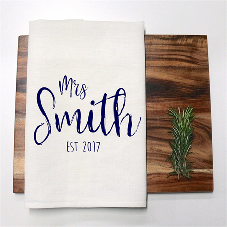 Personalised Bride Name Linen Tea Towel in Off White