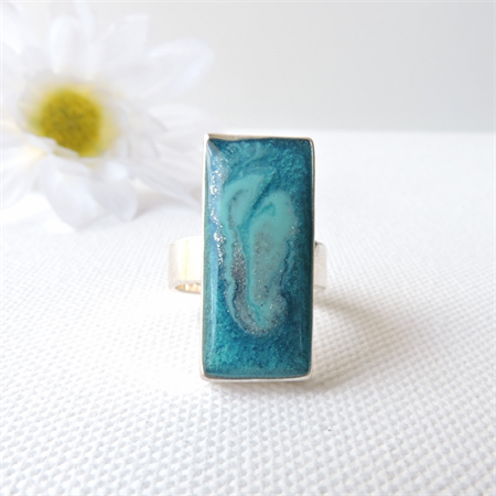 SEA DREAMS - resin art ring in a rectangular silver bezel ring setting