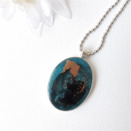 VERDIGRIS LOVE - gorgeous teal, black and copper original pendant necklace