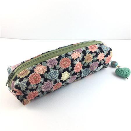 Kimono fabric makeup bag /pouch with beaded tassel- mint green, peach and black
