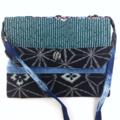 Handcrafted kimono fabric handbag with shoulder strap- indigo shibori & teal