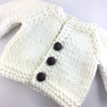 Hand knitted baby cardigan and silicone and natural wood necklace - mum and baby