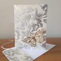 Butterflies and blooms luxury birthday card with matching gift tag