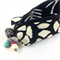 Kimono fabric makeup bag /pouch with beaded tassel- white pink and black shibori