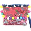 Handcrafted kimono fabric clutch handbag with wrist strap- indigo, pink, pom pom