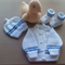 Baby Boys Cardigans, Beanies & Matching Booties to fit Newborn 0000