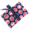 Kimono fabric jewellery travel roll / purse - indigo blue and red