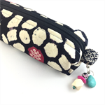 Kimono fabric makeup bag /pouch with beaded tassel- white pink and black shibori