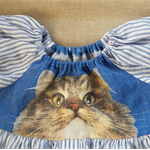 Unique upcycled blue linen girl's cat dress ☆ Size 4 ☆ Handmade ☆ ready to send