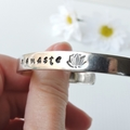 RESINATING WORDS - cuff bangle hand stamped - namaste