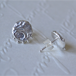 Sterling Silver Rose Relic Stud Earrings.
