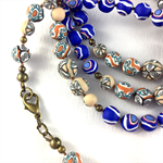 Handcrafted Polymer Clay Long Necklace- cobalt blue and cream swirls