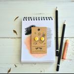 Yellow ceramic earrings, art  bright yellow, cute modern rustic simple studs