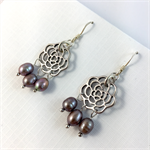 Silver metal rosette and freshwater pearl earrings with sterling silver hooks