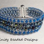 Blue Czech  Beaded Bracelet