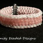 Pink and white Czech  Beaded Bracelet