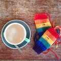 Children's fingerless gloves - rainbow / soft Australian wool / 4-7 years