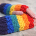 Tween fingerless gloves - rainbow / soft Australian wool / 8-12 years