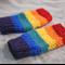 Tween fingerless gloves - rainbow / soft Australian wool / 8-12 years