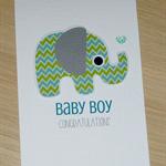 Baby Boy congratulations card - chevron elephant