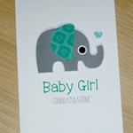 Baby Girl congratulations card - elephant