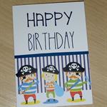 Boys or Girls Happy Birthday card - pirates