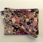 Small grey floral wristlet