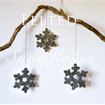 Nordic Grey Felted Snowflakes | Scandinavian Decorations | Unique Gifts