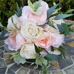 Wedding Bridal Bouquet - Apricot Peonies, Cream Roses Seeded Gum Leaves