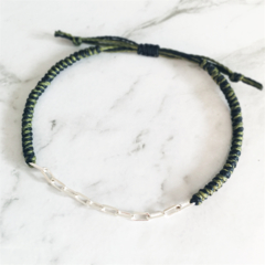 Hand-braided Silver Chain and Thread Bracelet/ Mens Bracelets hand knots