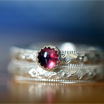 Pink Tourmaline Engagement Ring Set, Personalised Floral Silver Wedding Band